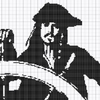 Captain Jack Sparrow Cross Stitch Pattern