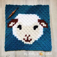 Woolly Sheep C2C Square - Free Crochet Pattern + Graph | My Hobby is Crochet