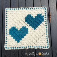 """Two Hearts that beat as One"" C2C Square - Free Crochet Pattern + Graph (Wedding Blanket CAL!) + Video Tutorial 