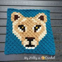 Lioness Lea C2C Square - Free Crochet Pattern - Wildlife Graphghan CAL | My Hobby is Crochet