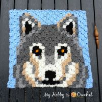 Free Crochet Pattern + Graph: Grey Wolf C2C Square - Wildlife Graphghan CAL | My Hobby is Crochet