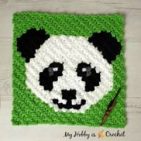 "Free Crochet Pattern: ""Panda Lee"" C2C Square - Wildlife Graphghan CAL 