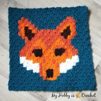 "Free Crochet Pattern: ""Lava Fox"" C2C Square - Wildlife Graphghan CAL 