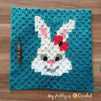 """Sassy Bunny"" C2C Square - Free Crochet Pattern: Written Instructions + Graph 