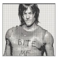 Awake at 4AM? Make a graph of Norman, of course. #twd #normanreedus #stitchfiddle
