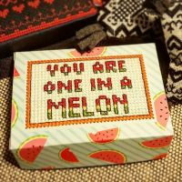 """You are one in a melon"" created from the kit in CrossStitcher issue 334, but with my own designed stitching. I like to think of the kits as a creative staring point, and this #quote fit perfectly with the print 😃🍉 . . . #broderi #embroidery #handembroidery #crossstitching #crosstitch #korsstygn #myowndesign #broderadask #embroideredbox #stitchfiddle #crossstitchermagazine"