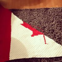 Row 72. Means I get to start decreasing one side and that it's close to its end. Isn't it lovely? #canadianflagblanket #imadethis #graphgan #stitchfiddle #nnchandmade #c2ccrochet @stitchfiddle