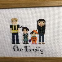 Why not get a piece that will a great reminder of a great day ?! This piece is representing this family's first Halloween together 🧡 . . . #crossstitch #moderncrossstitching #moderncrossstitch #etsy #handmade #christmas #birthday #gift #personalisedgift #christmasgift #threadartist #stitchfiddle #crossstitchfamilyportrait #thread #dmc #dmcthreads