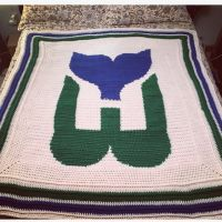 My 1st graphgan! Sooo nervous making this one because I wanted it to be perfect for my friend & grade partner-in-crime. He grew up a true Hartford Whalers fan (as most of us did here in CT)! Took about a year in the planning/making stages, but I think it came out great. He absolutely loves it as you can see it graces his own library room. Log onto www.stitchfiddle.com to make one in your fav design. @stitchfiddle #GoWhale #HartfordWhalers #graphgan #stitchfiddle #crochet #lovetocrochet #crochetforfriends #crochetbirthdaygift #yarnlove #hockey #classichockey