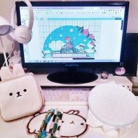 🌸 What is your favorite Ghibli movie? . . . . My favorite is Howl's Moving Castle! But I saw Ponyo again about a month ago which inspired me to make this cross stitch pattern! I'm finally starting to stitch it! . . . . . . . . . . . . #pinkaesthetic #battlestation #bunnylover #bunny #desksetup #gaming #gamingsetup #workspace #workstation #molang #girlsroom #nerdyflatlay #kawaiiness #switch #nintendoswitch #howlsmovingcastle #crossstitch #ponyo #ghibli #pastelaesthetic #photooftheday #kawaiistuff #stitchfiddle