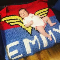 Got to meet this cutie Wonder Woman last weekend and give her this handmade blankie
