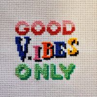 Good #vibes only!🧵🧵🧵 . . . . ✂️ . . ✂️ . #sassyStitchin #needle #crossstitch #art #craft #stitching #dmcthreads #moderncrossstitch #instastitch #xstitch #xstitchersofinstagram #crossstitchersofinstagram #dmc #subversivecrossstitch #stitchfiddle #colourful #picoftheday #picture #pic #instapic #instagood #instamood #instacool #internAtional #wonderlust #canada #toronto #gift #present