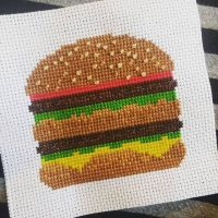 And a large diet coke... #🍔 I learned how to do French knots for the sesame seeds, but I'm not great at it yet. #itried Pattern courtesy of @stitchonomy #stitchonomy #crossstitch #cross_stitch #crossstitchersofinstagram #xstitching #xstitch #xstitcher #xstitchersofinstagram #subversivecrossstitch #stitch #stitchfiddle @stitchfiddle #floss