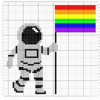 This summer marks 50 years since the Stonewall riots and the moon landing. Here's a little design I have on #stitchfiddle for #spacecitypride I hope you like it! #onegiantleap #happypridemonth #houstonpride2019 #beanallynotanasshole #crochet #crossstitch #threadwinners #yarnaddict #gayrightsarehumanrights