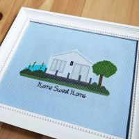 Home Sweet Home 🥰 Finished and framed! Ready for its new home! 💌 . . #stitch #stitchpeople #stitchfiddle #crossstitch #handmade #dmc #homesweethome #homedecor #homeportrait #stitching #crafts #crafting #craft #jesscrafting #aidafabric #blueskies #lake #houseonalake #tree #bushes #animals #swans #bats #framed #ironed #gift #housewarming #craftblog #needleandthread #madewithmichaels