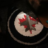 In case you're wondering how the second #winnipegjetsblanke is coming. It's coming. Over half done, decreasing both sides, the jet and leaf are almost done and then it's smooth sailing. . . . #nnchandmade #crushingit #winnipegjetsblanket #winnipegjets #nhl #cornertocornercrochet #stitchfiddle #thumbsup #cantstopwontstop