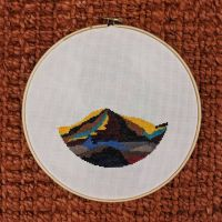 Thinking of all the mountains I should be hiking right now #crossstitch #crossstitching #xstitch #embroidery #dmc #dmcthreads #dmcthread #dmcembroidery #fiberart #art #mountain #colorblock #vecteezy #stitchersofinstagram #crossstitchersofinstagram #stitchfiddle