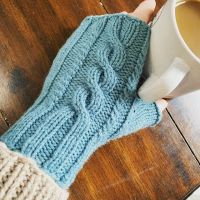 When I decided to make fingerless mitts for teacher gifts, I wanted to come up with something new. I'm super excited about these. Two sizes in one pattern—small in DK and large in Worsted weight. And until Oct 31 Andy's mitts are 20% on Ravelry—no code needed! https://ravel.me/andys-mitts #knittersofinstagram #ravelry #newpatterns #brooklyntweed #berrocoyarn #fingerlessgloves #fingerlessmitts #cableknitting #andysmitts #thecaffeinatedewe #stitchfiddle
