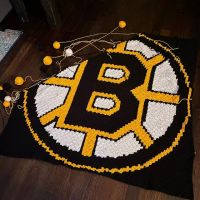 """AND WHEN THE WIND BLOWS HARD AND THE SKY IS BLACK — DUCKS FLY TOGETHER!"" Obviously I know that this isn't a Ducks blanket. But who doesn't love The Mighty Ducks? . . . #nnchandmade #bostonbruins #bostonbruinsblanket #crochet #c2ccrochet #graphgan #stitchfiddle"