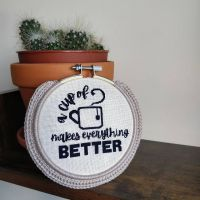 """***FREE PATTERN FRIDAY*** . Ah go on, you'll have a cuppa. . Pattern info: - 105 X 105 stitches. - finished piece stitched on Evenweave 32 count (ow my eyes) in a 4"""" hoop, with DMC 823 thread. - for personal use only. - tag me in your own finished pieces! . . Pattern, as always, made on @stitchfiddle. And keep an eye out for this hoop on Etsy 👀👀👀 . @crossstitchcreatives . #craftsbycai #craftbycai #pointducroix #crossstitchcreatives #crossstitchersofinstagram #crossstitching #crossstitchaddict #crossstitcher #xstitchersofinstagram #xstitchpattern #crossstitchpattern #etsysellersofinstagram #etsyukseller #etsyuk #stitchfiddle #queercrafter #queercrafts #queercrossstitch #shopsmallbusiness #smallbusinessuk #irishcrafter #indieshop #indiebusiness #queercrochet"""