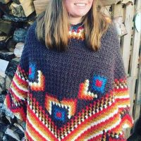 If you're having a #staycation this year, you might want to make my #campfireponcho to keep you toasty on the beach (while you watch the kids run around oblivious in swimwear) or campsite. It's like wearing a blanket. Find the #crochetpattern in my #Ravelry or #etsy shop or DM if you would like me to make you one. Made with #dropskarisma #ravelrypattern #stitchfiddle #crochet #outdoorlife #UKholidays #purewool #camping #beachlife #campfire