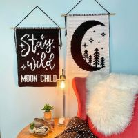 Eeek! Here they are!🤩 . The Stay Wild Moon Child & Wild Moon Wall Hangings!🌙🌲 . This double design is made to be the same size so you can hang them side by side, stagger them, or separate them on different walls! Perfect for any Moon Child, young or old! ♥️ . Available for 50% off today only as part of #SpringExclusives curated by @cosyrosieuk - Hit the link in my bio to check them out! . Don't forget to join us live at 11am MTN time! ☕️ ——————————————————— #jadedcraftscreations #WildMoonWallHanging #StayWildMoonChildWallHanging #tapestrycrochet #tapestrydecor #moderncrochet #crochetaddict #crochetforbaby #crochetforkids #moonlover #crocheteveryday #bohocrochet #crochetwallhanging #stitchfiddle #canadiancreatives #yegcrochet #crochetersoftheworld