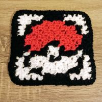 First attempt at corner to corner (C2C) crochet! Apparently I like making pokeballs 😂 It doesn't throw as well as the round ones, tbh 😁
