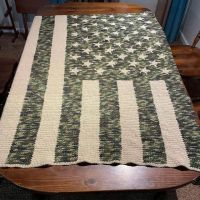 Here is the latest blanket I finished. It is bigger than the table it is on, but it is a full size American Flag blanket. Follow me on Instagram at ccolecraftsandcrochet #stitchfiddle