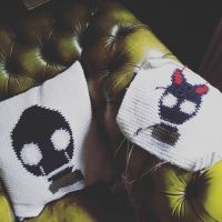 Almost there! Mr. Egghead get's his girlfriend. 🖤 #stitchfiddle #crochet #gasmask #pillowface #diy #black #arts #crafting