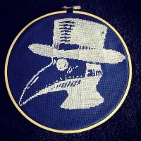 The Doctor is in, (sorry he's late but fook me that took a long tedious while) #crossstitch #crossstitchersofinstagram #crossstitching #steampunk #goth #plaguedoctor #arts #crafts #diy #stitchfiddle
