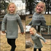 Sweet Sisi wearing the sweater tunic I made for her. #stitchfiddle