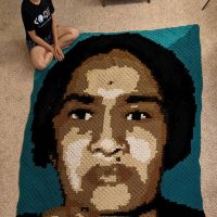 May 2021. Theme: Resilience Completed my second #crochet portrait of #WomenInSTEM - Kamala Sohonie. The first Indian woman to get a Ph.D. in Science - a Kamala who broke the glass ceiling back in 1939. She was denied admission to the Ph.D. program at IISc by CV Raman on the grounds that she was a woman! She held a 'satyagraha' outside of his office and was finally admitted on 3 conditions - she will be on probation for the first year, work howevermany hours (late nights) her guide prefers and not be a distraction to the men in the institute. Despite being an insult, she accepted, displayed strength and resilience and got her PhD. As the COVID crisis in India continues, I am not really sure I can articulate in any way the reality of what is being faced by people on the ground and off the ground. So will leave it at that. Deep down, I did think - 2021 and the new year and all that jazz, but I guess the virus has its own concept of a new year!From far-off and a completely different world right now, can just try to send a message of thanks to all the frontline workers and people fighting the crisis and helping on the ground and a message of condolence for all that is lost. The fight is far from over. Can still donate to causes, advocate for vaccine production/distribution and facilitate efforts/people on the ground. Will be hooking off of crochet for the year as I focus on other things in life that need me or I need, but adding a link in bio with vetted orgs fundraising for relief efforts in India that will be regularly updated. If you can, bookmark and share in your circle. Indiacovis.org/fundraising This portrait was a collaboration with the husband@donny.av who designed the entire pattern on #stitchfiddle and wrote a script for the same to save me a lot of manual effort. And of course, for cooking and cleaning when I was lost for hours on the project. As usual, I am in pic for the scale. Thanks to @awesome.steam for grant! Strength and peace to all! 💓 #crochet #croch