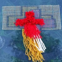 Latch Hook Yarn Art Wall Hanging 3 Wooden Crosses