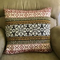 Stranded Cushion Cover in Autumn Tones