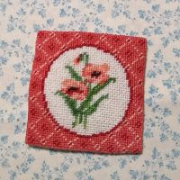Poppy Cushion - 1:6 scale needlepoint